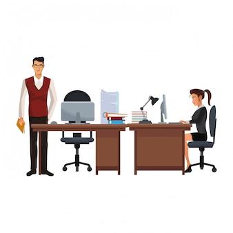 Dibujos animados de ejecutivos de compañeros de trabajo de negocios