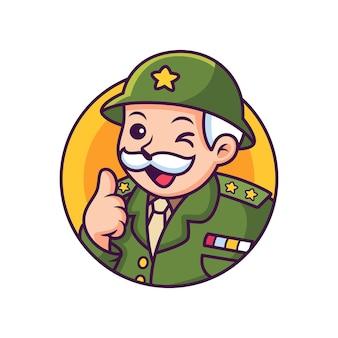 Dibujos animados del ejército con expresión divertida. ilustración de icono. concepto de icono de persona aislado