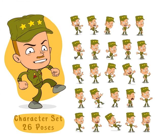 Dibujos animados ejército soldado niño gran set para animación