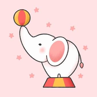Dibujos animados de elefante de circo a mano estilo dibujado