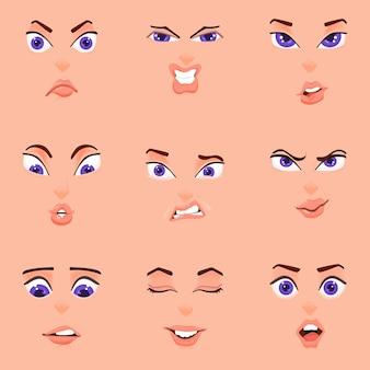Dibujos animados de emociones, estilo plano, rostro femenino, ojos, cejas y boca