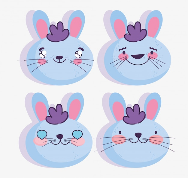 Dibujos animados emojis kawaii enfrenta emoticones de conejo