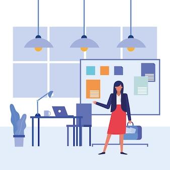 Dibujos animados de empresaria y diseño de escritorio, negocios y administración de oficinas, diseño, ilustración, tema de imagen