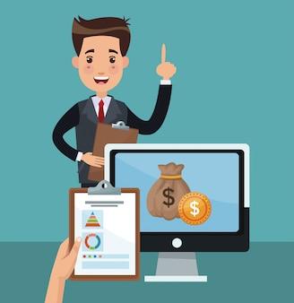 Dibujos animados de empresario y dinero