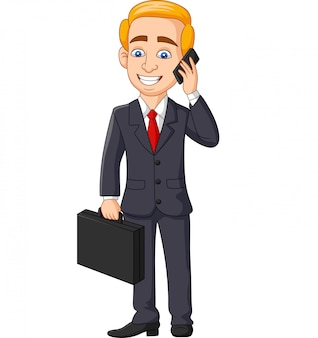 Dibujos animados empresario hablando por teléfono con carpeta maletín