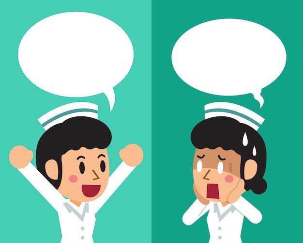 Dibujos animados de una enfermera mujer expresando diferentes emociones.