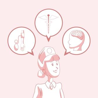 Dibujos animados de enfermera con símbolos médicos