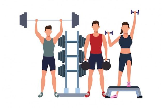 Dibujos animados de entrenamiento de personas fitness