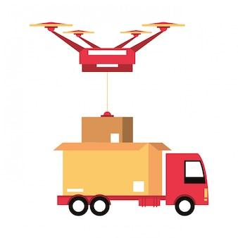 Dibujos animados de envío logístico y de entrega