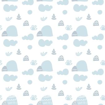 Dibujos animados escandinavo de patrones sin fisuras. paisaje con nubes, montañas y árboles