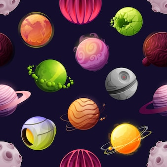 Dibujos animados espacio planetas futuristas de patrones sin fisuras