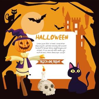 Dibujos animados de espantapájaros y gatos de halloween con diseño de banner, vacaciones y tema aterrador