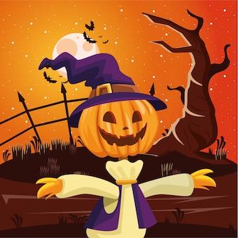 Dibujos animados de espantapájaros de halloween en el diseño de la noche, vacaciones y tema de miedo