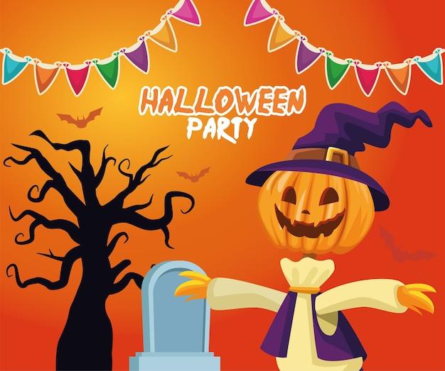 Dibujos animados de espantapájaros de halloween con diseño de tumba y árbol, tema de vacaciones y miedo