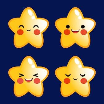 Dibujos animados estrellas lindas emoticon avatar cara con emociones positivas
