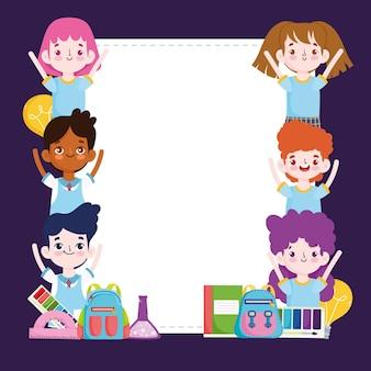 Dibujos animados de estudiantes de grupo escolar con libro de mochila, ilustración de banner en blanco