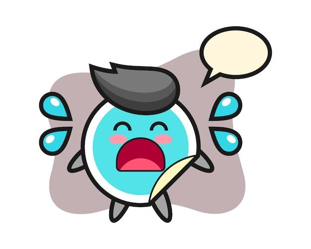 Dibujos animados de etiqueta con gesto de llanto