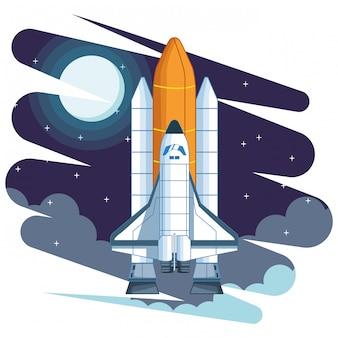 Dibujos animados de exploración espacial y planetas