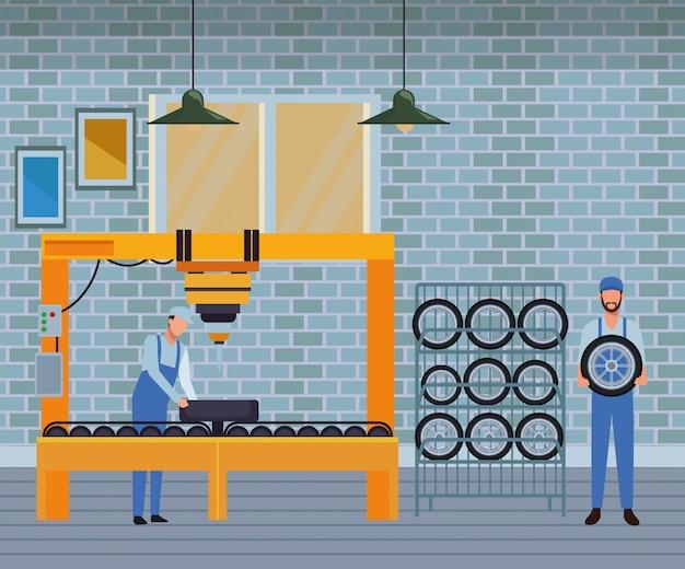 Dibujos animados de fabricación de servicios de automóviles