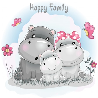 Dibujos animados de la familia del hipopótamo lindo