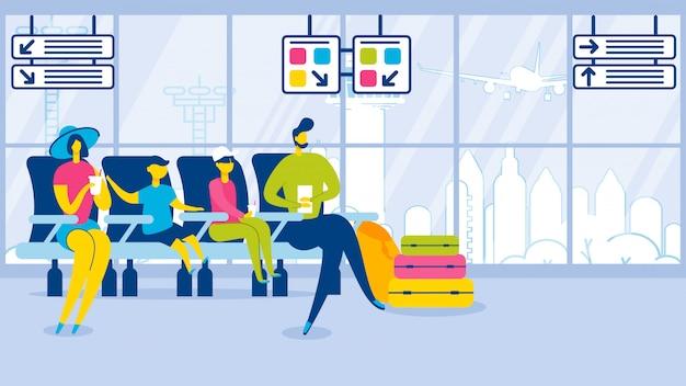 Dibujos animados familia niños se sientan en la caseta del aeropuerto