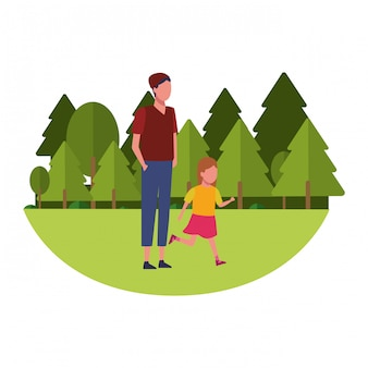 Dibujos animados de familia y niños