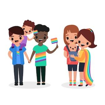 Dibujos animados familias celebrando el día del orgullo