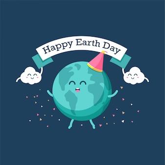 Dibujos animados felices de la tierra y las nubes celebran juntos el día de la tierra.