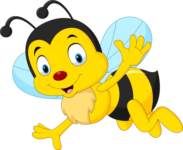 Dibujos animados feliz abeja saludando