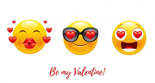 Dibujos animados feliz día de san valentín con corazón amor emoji.