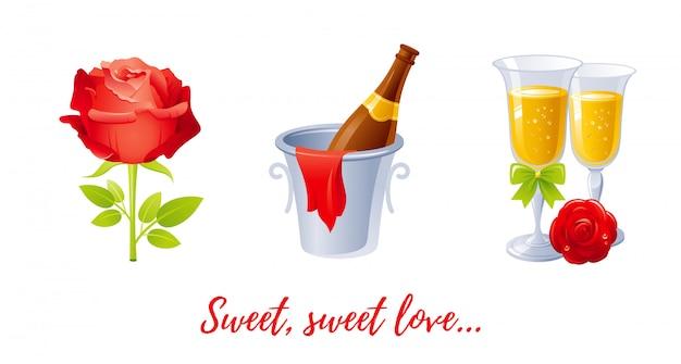 Dibujos animados feliz día de san valentín con corazones amor.