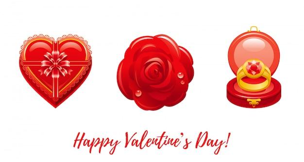 Dibujos animados feliz día de san valentín saludos con iconos de san valentín - caja de corazón de chocolate, rosa roja, anillo.