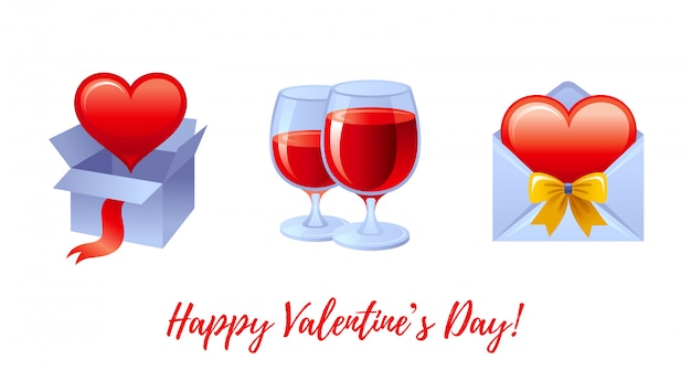 Dibujos animados feliz día de san valentín saludos con iconos de san valentín - caja de regalo con corazón, copas de vino tinto, sobre romántico.