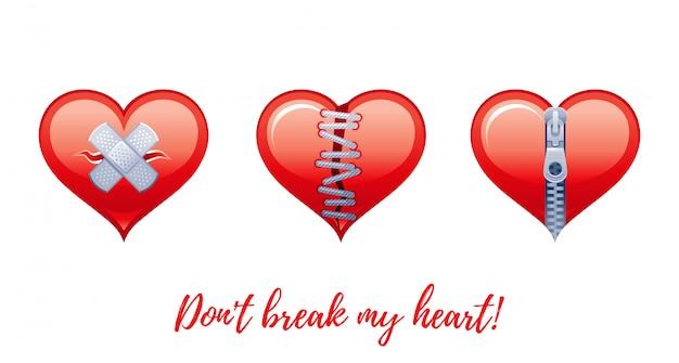 Dibujos animados feliz día de san valentín saludos con iconos de san valentín - corazones rotos, símbolos de amor no correspondidos.