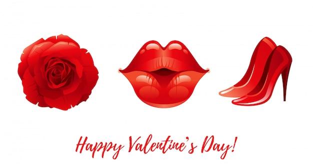 Dibujos animados feliz día de san valentín saludos con iconos de san valentín - rosa, besando los labios, zapatos de tacón.