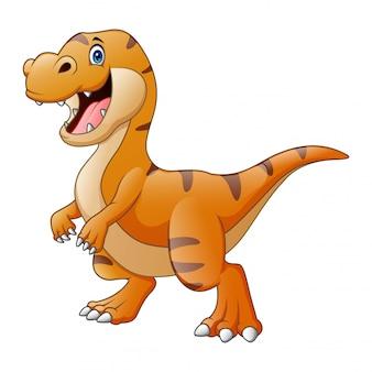 Dibujos animados de un feliz dinosaurio tiranosaurio