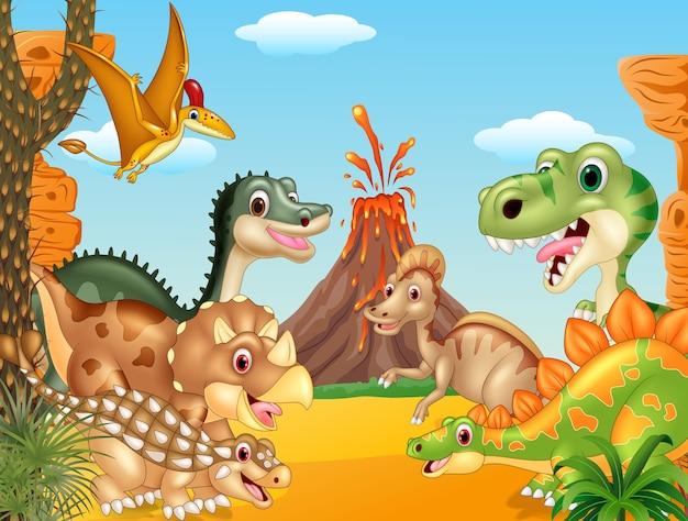 Dibujos animados feliz dinosaurios con volcán