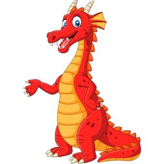 Dibujos animados feliz dragón rojo presentando