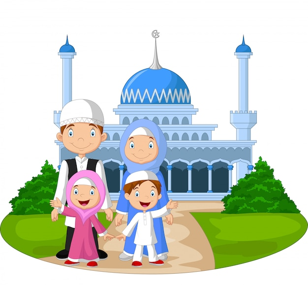 Dibujos animados feliz familia musulmana frente a la mezquita