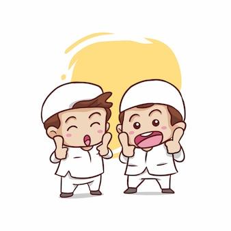 Dibujos animados feliz niño musulmán dos