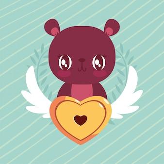 Dibujos animados feliz oso de san valentín con candado de corazón