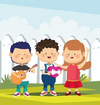 Dibujos animados feliz pareja y niño cantando y tocando la guitarra sobre valla blanca