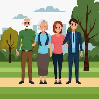 Dibujos animados feliz pareja y pareja de ancianos en el parque