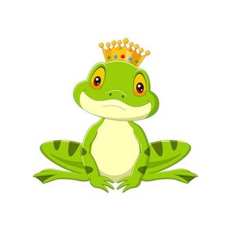 Dibujos animados feliz rey rana en blanco