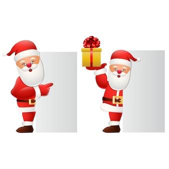 Dibujos animados feliz santa claus con caja de regalo y cartel en blanco