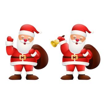 Dibujos animados feliz santa claus sosteniendo un regalos