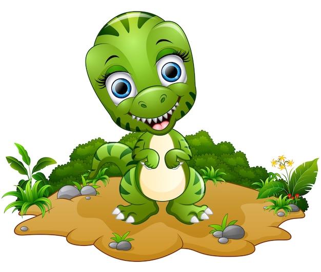 Dibujos animados feliz tiranosaurio
