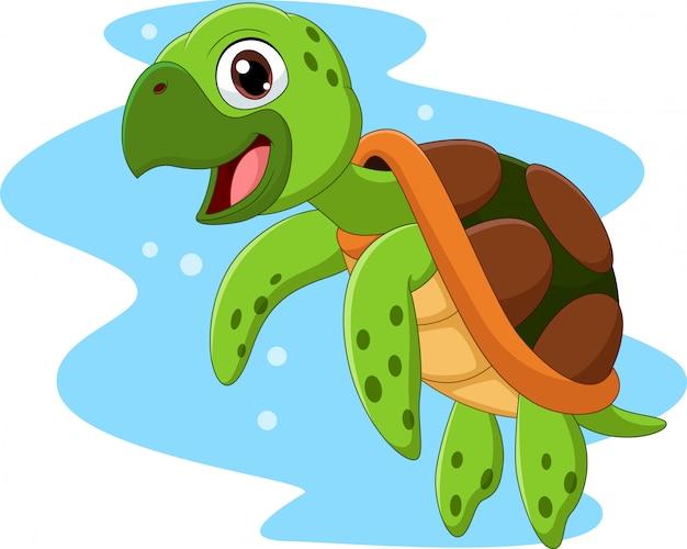 Dibujos animados feliz tortuga marina nadando