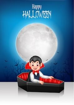 Dibujos animados feliz vampiro en su ataúd con fondo de halloween