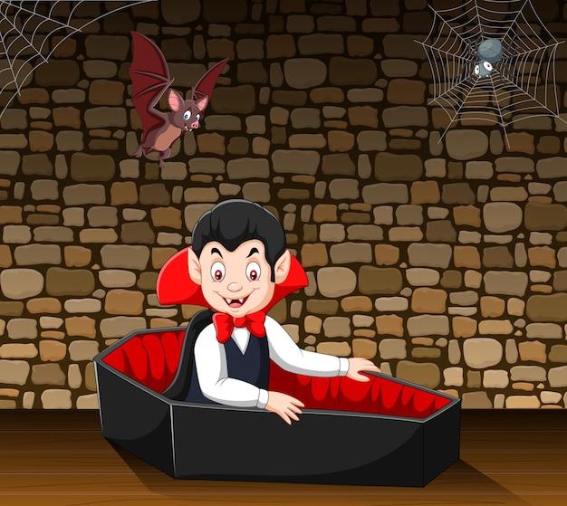 Dibujos animados feliz vampiro en su ataúd